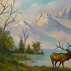 Elk at Wilderness Mountain Lake by Vivian Eagleson