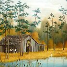 Old Barn with Chickens and Pond by Vivian Eagleson
