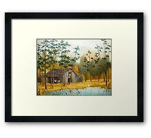 Old Barn with Chickens and Pond Framed Print