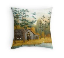 Old Barn with Chickens and Pond Throw Pillow