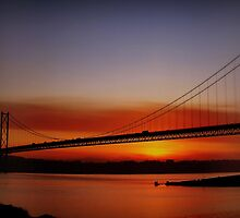 Sunset Over The Forth Road Bridge, Scotland. by Aj Finan