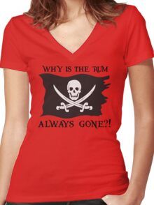 Why IS the rum always gone?! Women's Fitted V-Neck T-Shirt