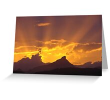 Sun rays and copy cloud on Mt Warning Greeting Card