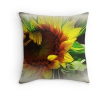 Sunflower With Rays Throw Pillow