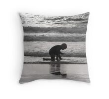End of Day Seashell Hunt Throw Pillow