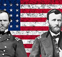 Sherman And Grant With The American Flag  by warishellstore