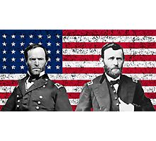 Sherman And Grant With The American Flag  Photographic Print