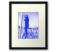 grungy blue Framed Print