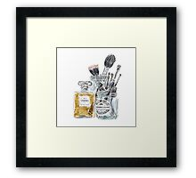Perfume and Makeup Brushes Framed Print