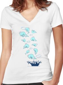 Where Have the Whales Gone? Women's Fitted V-Neck T-Shirt