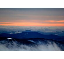 Sunset on the mountain in winter Photographic Print
