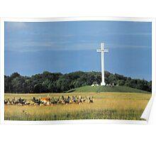 Papal Cross & Deer - Phoenix Park, Dublin Ireland Poster