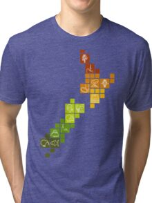 New Zealand Fun Map Tri-blend T-Shirt