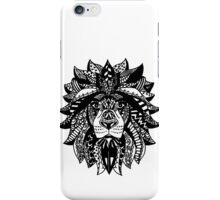 Wild Tangle Black & White Patterned Lion  iPhone Case/Skin