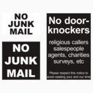 """No door-knockers"" door sign, ""No junk mail"" letter box sign by Anny Arden"