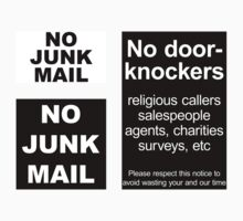 """No door-knockers"" door sign, ""No junk mail"" letter box sign by Anny Arden"