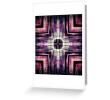 Red and Purple Skyscraper Crossed Greeting Card
