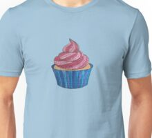 Pink & Blue Patterned Cupcake  Unisex T-Shirt