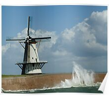 WindMill at stormy weather Poster