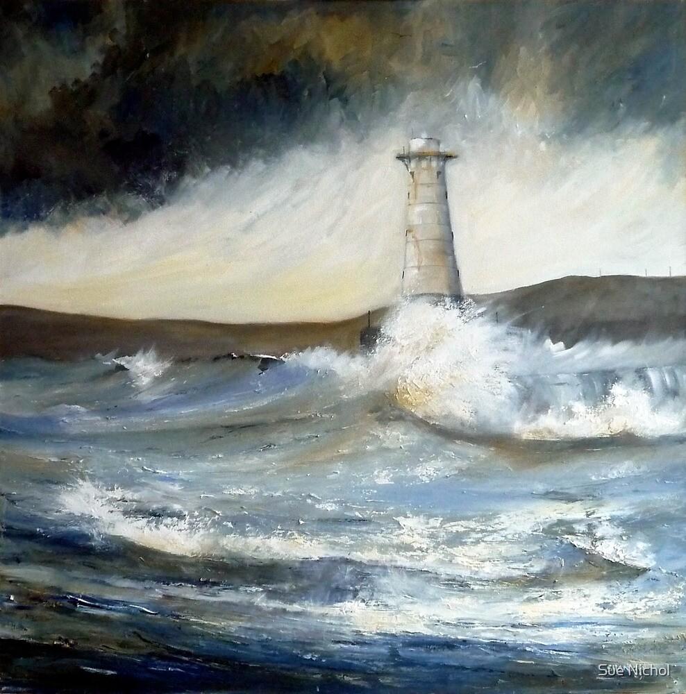 Lighthouse in Rough Seas  by Sue Nichol