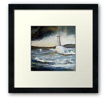 Lighthouse in Rough Seas  Framed Print