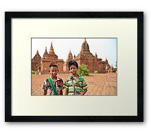 Pagoda Boys in Bagan Framed Print