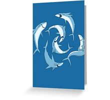 School of Happy Sharks Greeting Card
