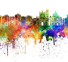 Prato skyline in watercolor background by paulrommer