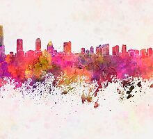 Jersey City skyline in watercolor background by paulrommer
