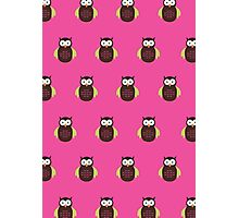 Brown & Green Owl (Pattern 2) Photographic Print
