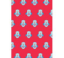 Blue & Red Owl (Pattern 2) Photographic Print