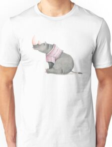 Cute sitting Rhino in knitted jersey. Unisex T-Shirt