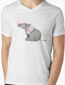 Cute sitting Rhino in knitted jersey. Mens V-Neck T-Shirt