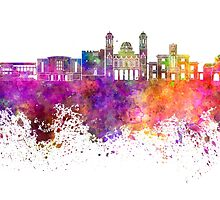 Limassol skyline in watercolor background by paulrommer