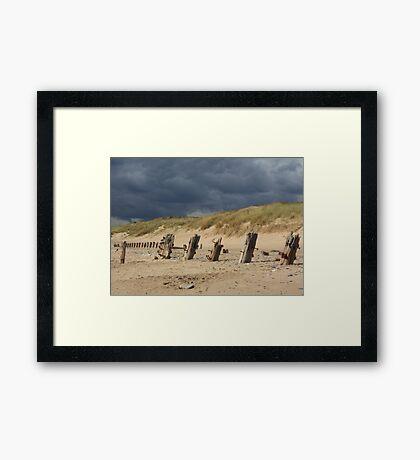 Weathered remains, Spurn Point Framed Print