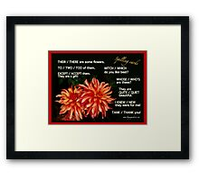 LANGUAGE CHOICES collection: Dahlia spelling cards. Framed Print