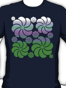 Mosaic White Purple True Green Ombre Flower Waterfall Hawaiian Inspired Back to School T-Shirt