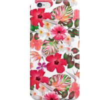Girly modern pink white trendy tropical flowers  iPhone Case/Skin