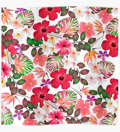 Girly modern pink white trendy tropical flowers  Poster