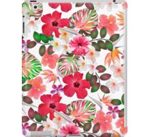 Girly modern pink white trendy tropical flowers  iPad Case/Skin