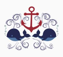 Red Anchor and Whales Kids Tee
