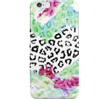 Girly pink teal watercolor animal print iPhone Case/Skin