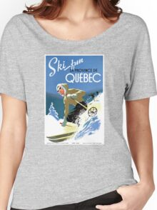 Quebec Canada Vintage Travel Poster Restored Women's Relaxed Fit T-Shirt