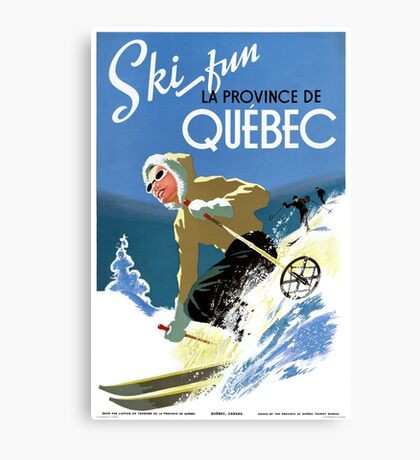 Quebec Canada Vintage Travel Poster Restored Canvas Print