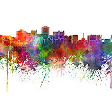 Jackson skyline in watercolor background by paulrommer