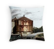 Rusty Water Towers Throw Pillow