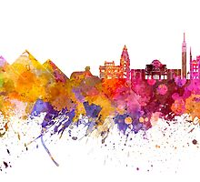 Cairo skyline in watercolor background by paulrommer