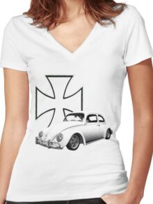 Iron Cross VW Bug Women's Fitted V-Neck T-Shirt