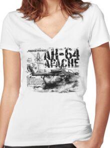 AH-64 Apache Women's Fitted V-Neck T-Shirt
