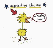 Original Inquisitive Chicken color T shirt Kids Tee